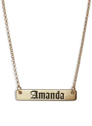 Argentovivo Personalized English Font Bar Necklace