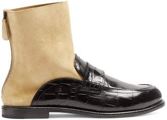 Loewe Crocodile-effect leather sock ankle boots