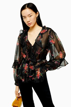 Topshop Floral Metallic Stripe Ruffle Sheer Blouse