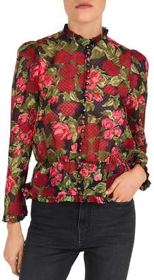 The Kooples Painted Roses Embroidered Silk Blouse