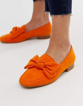 Asos Design DESIGN My Girl bow loafers in orange
