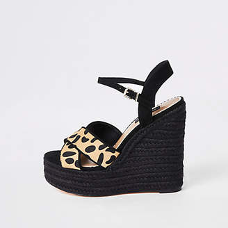 River Island Brown leopard print Wide fit wedges