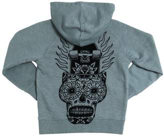 Molo Flocked Print Cotton Hooded Sweatshirt