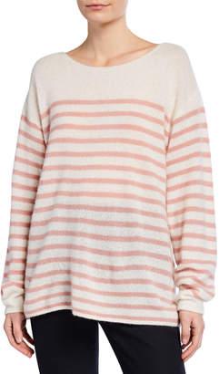 ADAM by Adam Lippes Brushed-Cashmere Breton-Striped Boat-Neck Sweater