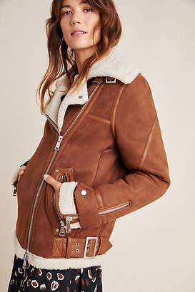 Bagatelle Rhea Sherpa-Trimmed Faux Suede Jacket