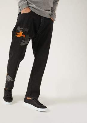 Emporio Armani J04 Loose-Fit Cotton Twill Denim Jeans With Camouflage Embroidery