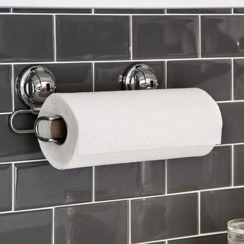 FECA Stainless Steel Wall Mount Paper Towel Holder with Powerful Suction Cup