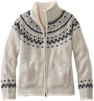 L.L. Bean Women's L.L.Bean Classic Ragg Wool Sweater, Sherpa-Lined Zip Cardigan Fair Isle