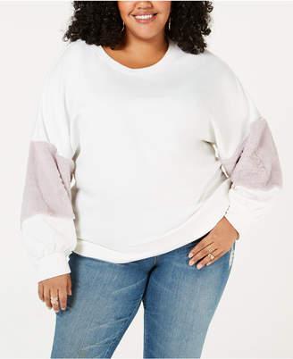 Soprano Trendy Plus Size Faux-Fur-Trim Sweatshirt