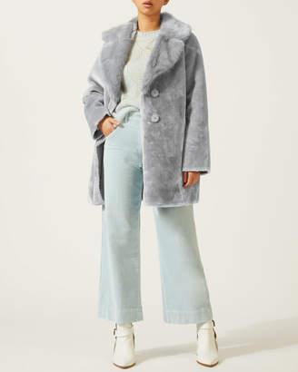 Jigsaw Large Collar Faux Fur Coat