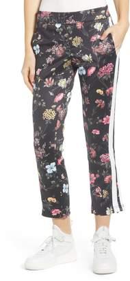 Pam & Gela Fineline Floral Side Stripe Crop Track Pants