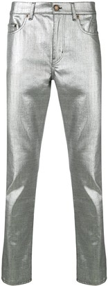 Saint Laurent metallic slim fit jeans