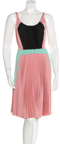 prada Prada Pleated Colorblock Dress