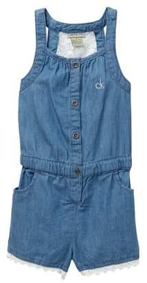 Calvin Klein Lace Back Denim Romper (Little Girls)
