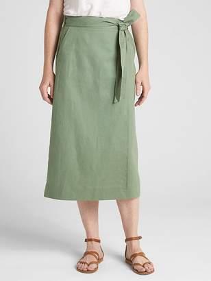Gap Wrap Midi Skirt in Linen-Cotton