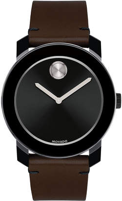 Movado Bold 42mm Bold Watch with Leather Strap, Brown/Black