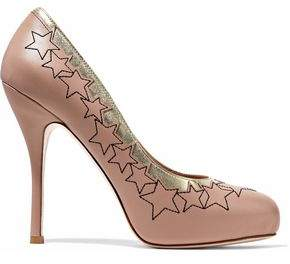RED Valentino Metallic-Trimmed Embroidered Leather Platform Pumps