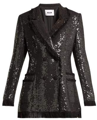 MSGM Sequin Cotton Blend Tweed Blazer - Womens - Black