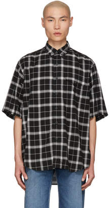 Balenciaga Black and White Check Pocket Shirt