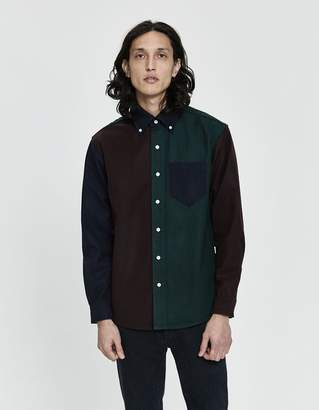 Leon Aimé Dore Colorblock Chamois Button-Down in Burgundy / Navy / Green
