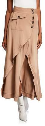 Self-Portrait Asymmetric Midi Skirt