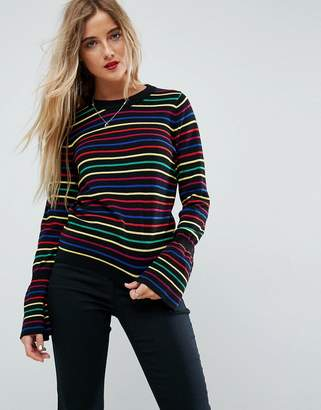 Asos Jumper With Rainbow Stripe And Fluted Sleeve