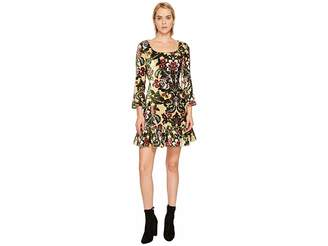 Jeremy Scott Brocade Printed Velvet Mini Dress Women's Dress
