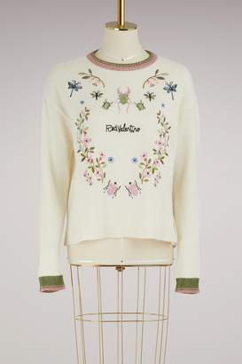 RED Valentino Embroidered crew neck sweater