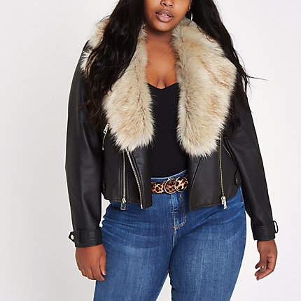 Womens Plus Black faux fur collar biker jacket