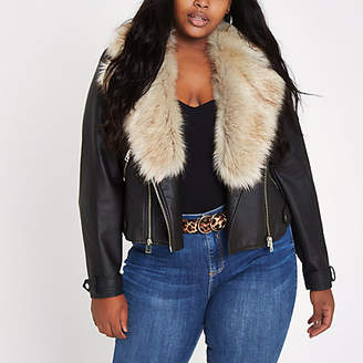 River Island Plus black faux fur collar biker jacket