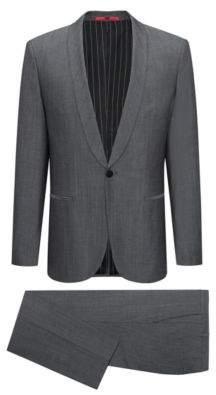 HUGO Boss Wool Cotton Suit, Extra Slim Fit Arti/Hesten 42S Dark Grey