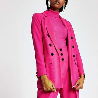 River Island Pink velvet button blazer