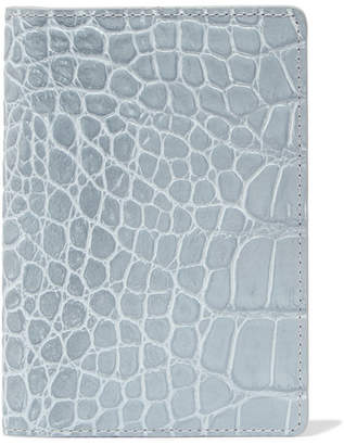 Factory The Case Croc-effect Leather Passport Cover - Gray