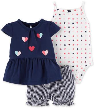 667bcff74a2 Carter s Baby Girls 3-Pc. Heart-Print Cotton Bodysuit