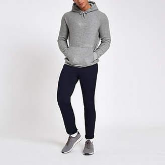 River Island Grey slim fit 'carpe diem' hoodie