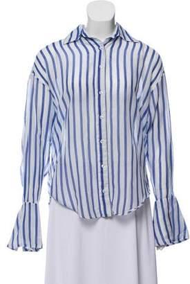 Caroline Constas Printed Button-Up Blouse