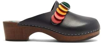Anya Hindmarch Circle-embellished leather clogs
