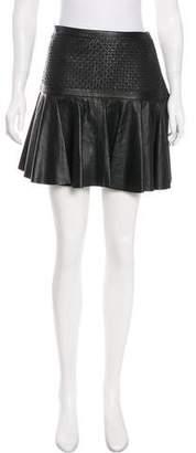 Robert Rodriguez Textured Leather Mini Skirt w/ Tags