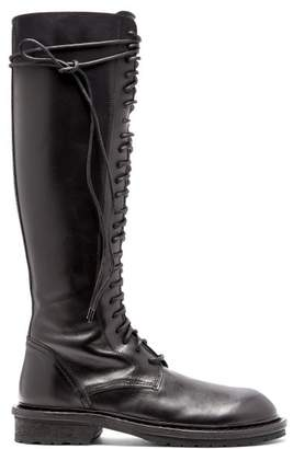 Ann Demeulemeester Knee High Lace Up Leather Boots - Womens - Black