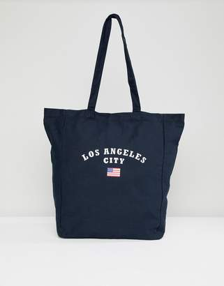 Pull&Bear LA canvas tote in navy
