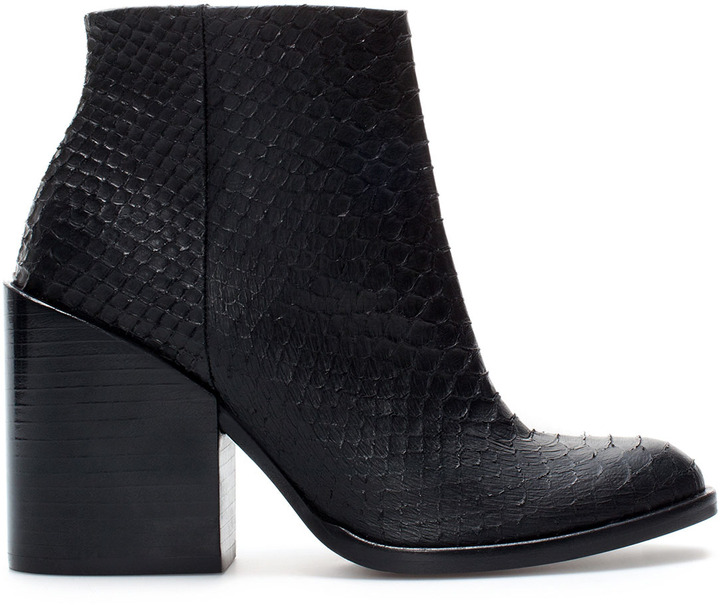 Zara Embossed Leather High Heel Ankle Boot
