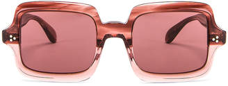 Oliver Peoples Aviri Square Sunglasses in Rose & Damson | FWRD