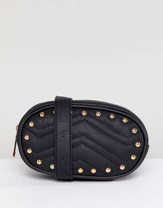 Yoki Fashion Quilted Fanny Pack in Black with Studs