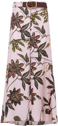 Dorothee Schumacher Powerful Flora Silk Midi Skirt Size: 1