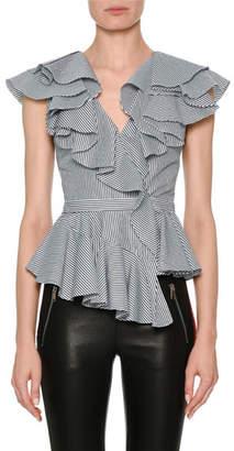 Alexander McQueen Sleeveless Striped Poplin Peplum Top with Ruffled Frills