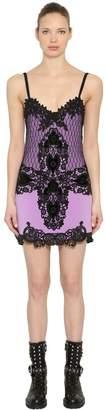 Fausto Puglisi Wool Crepe & Lace Mini Dress