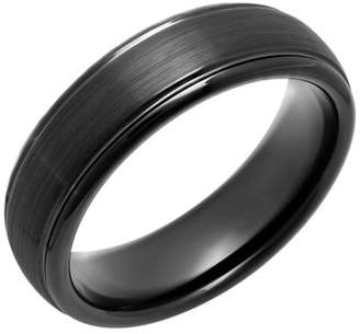 Generic Men's Black IP-Plated Tungsten Domed Ring, 6mm