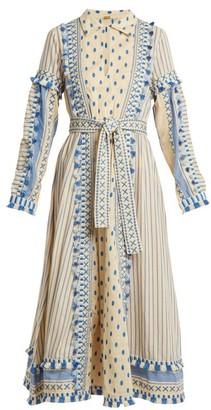 Dodo Bar Or - Azzez Polka Dot And Striped Cotton Dress - Womens - Blue