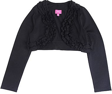 JCPenney Pinky Ruffle-Front, Long-Sleeve Black Shrug - Girls 7-16