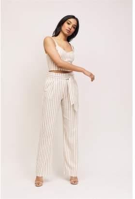 Dynamite Heidi Linen Wide Leg Pant Beige & White Stripes